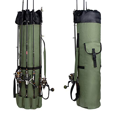 Croch 釣り用ロッドケース 多機能 布製 ロッドスタンド 5本ロッド挿入可 防水 大容量軽量防水釣り道具オーガナイザー 手提げ 肩掛け YGB01-GJP