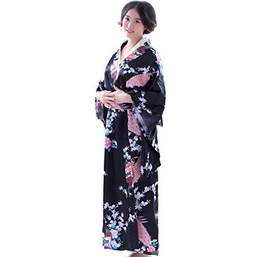 Beaums Kimono Largo Kimono Floral Satinado japonés para niñas, Kimono Largo Floral, Traje japonés Yukata Photo Cosplay Disfraz