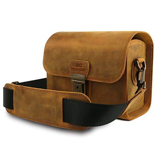 MegaGear Pebble MG1725 Genuine Leather Camera Messenger Bag for Mirrorless, Instant and DSLR Cameras - Camel