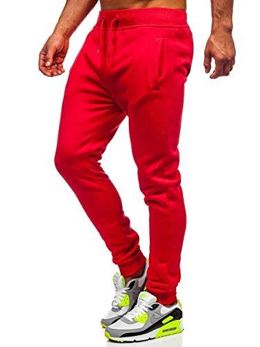 BOLF Hombre Pantalón Deportivo Pantalones De Chándal Jogger Pantalones Holgados de Deporte Running Entrenamiento Fitness Jogging Slim fit Estilo Urbano XW01 Rojo XL [6F6]