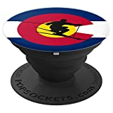 Skiing Colorado Winter Sports Ski CO State Flag PopSockets Grip and Stand for Phones and Tablets