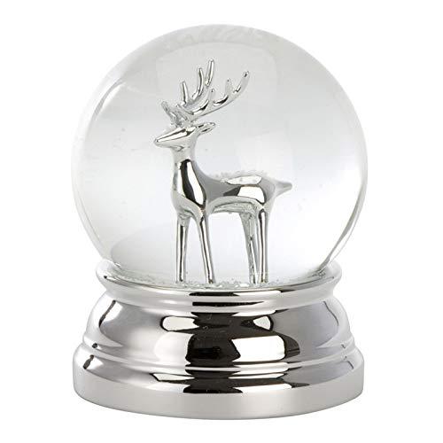 H.Bauer jun. große versilberte Glas Schneekugel mit Rentier Ø 8 cm - Winter-Weihnachts-Deko