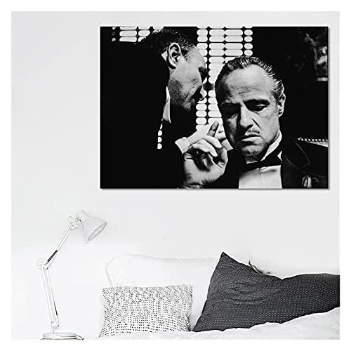 RHWXAX Nowoczesne plakaty filmowe i wydruki sztuka ścienna obraz na płótnie Arlon Brando Ojciec chrzestny dekoracyjne obrazy do salonu dekoracja domu 50 x 71 cm bez ramki
