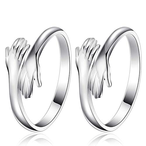 2PCS Umarmende Hände Sterling Silber Verstellbarer Ring,Verstellbarer Paar Umarmungsring,Paar Ringe Hände Umarmen Ringe,Öffnung Einstellbar Finger Ring,Offene Fingerringe