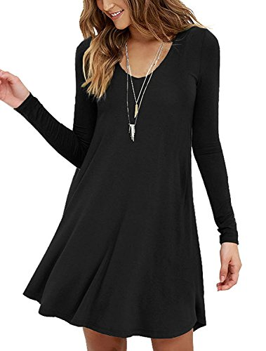 VIISHOW Womens Round Neck Long Sleeves A-line Casual Tshirt Dress (XS, Long Sleeve Black)