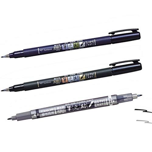Tombow Fudenosuke - Juego de 3 rotuladores; punta dura, punta suave y punta doble (en negro y gris).