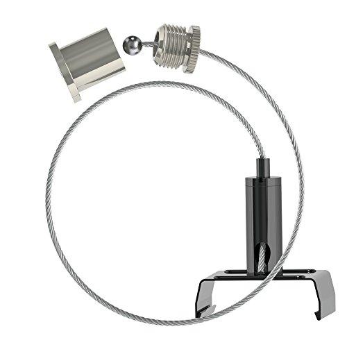 Abhängeset für Eutrac - Stromschienen; schwarz; bestehend aus Deckenbefestiger mit Kappe; Drahtseil Ø1,5mm Länge 3000mm, Drahtseilhalter