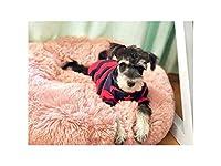 暖かいフリース犬のベッドラウンドペットクッション用小中大型犬猫冬犬犬小屋子犬マットペットベッド、ピンク、60センチ