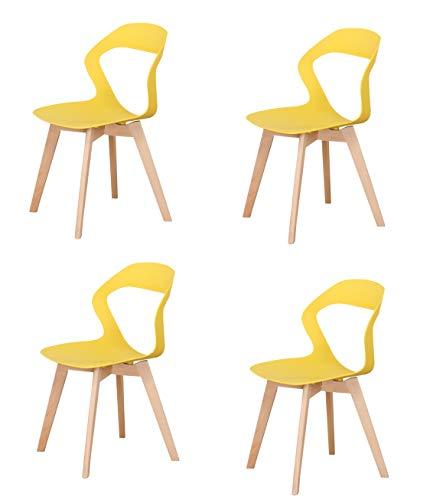 SWEETHOME - Silla de comedor nórdica, 4 piezas, diseño oriniak para salón, cocina, oficina, reunión, restaurante, cafetería, (amarillo)