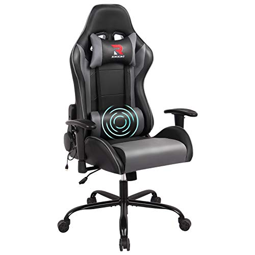 RIMIKING Massage Gaming Chair-Ergonomic PU...