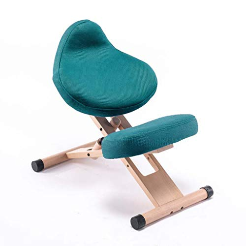 Ping Bu Qing Yun Ergonomic Kneeling Chair, Adjustable Stool for Home and Office Sitting Posture Correction Chair Without Armrest Kneeling Chair (Color : Green)