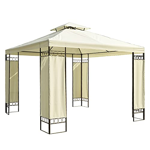 Outsunny Carpa 3x3m Color Crema Estructura Metal Gazebo Cenador 9m2 Posibilidad Techos de Reemplazo