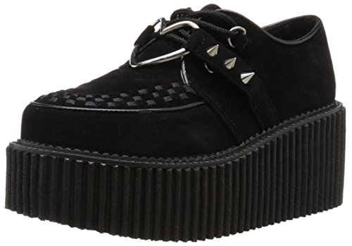 Demonia Creeper 206, Damen Sneakers , Schwarz - Black (Blk Vegan Suede Vegan Leather) - Größe: 40 EU (7 UK)
