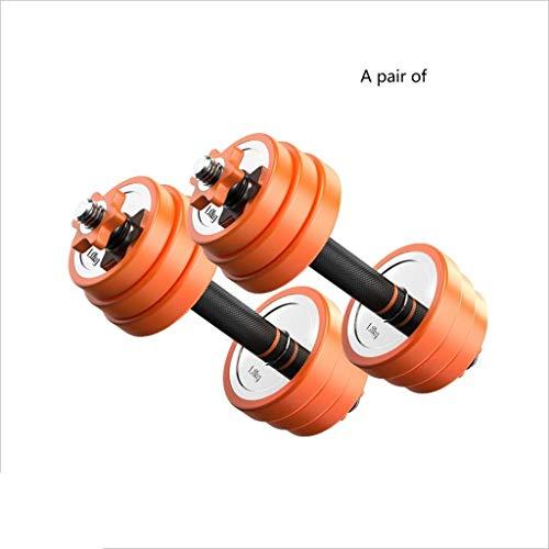 Caim halteroefeningen, een set van 2 halters met PVC-rubberen ring, gevoerde handgreep, instelbaar gewicht 20 kg, voor het huishouden, roestvrij staal, barbell, fitnessapparaten en fitnesshalters.