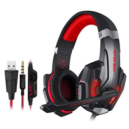 Marxways 3,5-mm-Game-Gaming-Headphonet für PS4, PC, Xbox One-Controller, Kopfhörer mit Geräuschunterdrückung über Mikrofon, LED-Licht, Bass-Surround, Ohrenschützer mit weichem Speicher (rot)