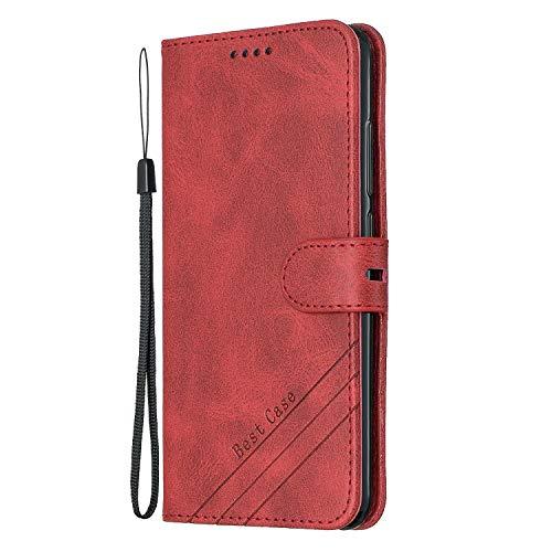 Lomogo Funda Cartera Xiaomi Mi A2 / Mi 6X, Funda de Cuero con Tapa Ranuras Tarjetas Soporte Plegable Antigolpes Carcasa Case para Xiaomi MiA2 / Mi6X - LOHEX120509 Rojo
