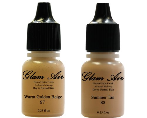 Airbrush Makeup Foundation Satin S7 Warm Golden Beige and S8 Summer Tan Water-based Makeup Long Lasting All Day Without Smearing Running, Fading or Caking 0.25 Oz Bottle By Glam Air by Glamair