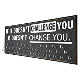 Running On The Wall-Gifts for Runners-Marathon Medal Display-Medal Rack for Running- Awards Hanger - Wall Mounted Holder-IF IT Doesn'T Challenge You.IT Doesn'T Change You