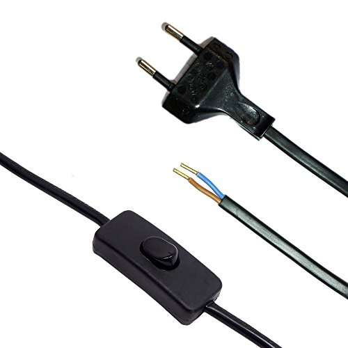 Aansluitkabel met stekker en schakelaar zwart 1,50 m voedingskabel stroomkabel met tuimelschakelaar en platte stekker 2x0,75 qmm 250V SW