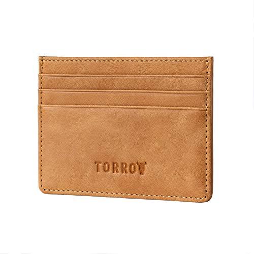 TORRO Porta Carta di Credito in Pelle USA di Alta Qualità [5 Slot per Carte] [1 Compartimento per Banconote Foderata in Microfibra] [Profilo Sottile] (Marrone Chiaro)