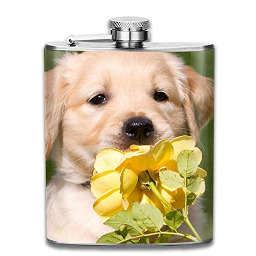 Presock Fiaschette Puppy Dog Yellow Flower Outdoor Portable 304 Stainless Steel Leak-Proof Alcohol Whiskey Liquor Wine 7OZ Pot Hip Flask Travel Camping Flagon for Man Woman Flask Great Little Gift