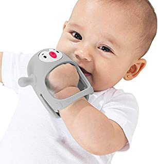 Smily Mia Penguin Buddy Never Drop Silicone Sucking Teether Toy for 0-6Month Babies, Pacifier Replacement, Breast Feeding Weaning Toy, Light Grey