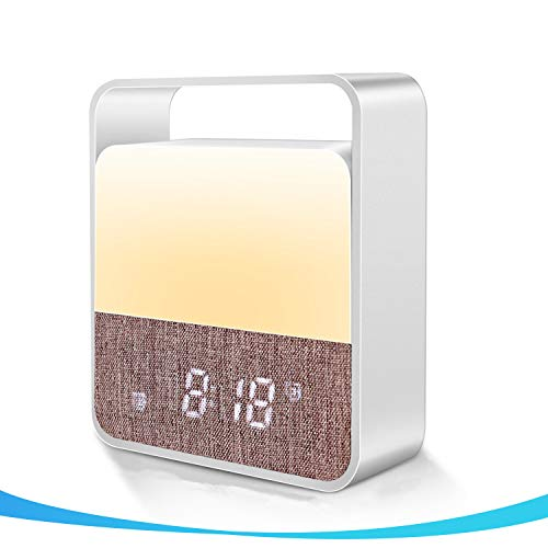Digital Alarm Clock with Night Light, Touch Sensor Bedside LED Table Lamp with 12 Colors Warm Light Without Glare, 7 Natural Sound Dimmable Wake Up Clock Night Light for Kids Bedroom