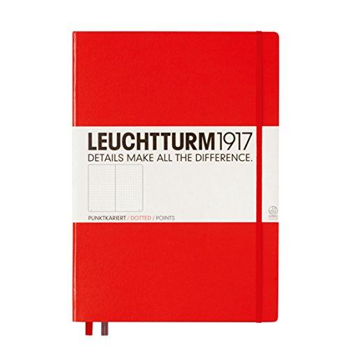 LEUCHTTURM1917 336404 Libreta de notas Master Classic (A4+) tapas duras, 235 páginas numeradas, rojo, puntos