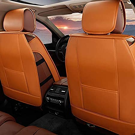 Maite Front Car Seat Covers for Volvo S40 S60 S70 S80 S90 PU Leather 2Pcs Car Seat Cushion-Compatible with Airbag Beige