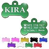 Hueso para Mascotas pequeñas-Medianas Placa Chapa Medalla de identificación Personalizada para Collar Perro Gato Mascota grabada (Verde)