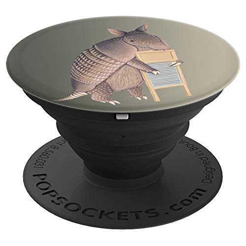 Armadillo playing the washboard PopSockets Grip and Stand for Phones and Tablets