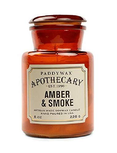 Paddywax Candles Apothecary Collection Glass Jar Candle, 8-Ounce, Amber and Smoke
