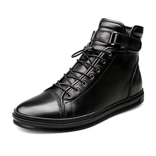Datouya Men's Flat-Bottomed Rubber Synthetic Leather Winter Warm Plush Oxford Boots with Drawstring Provide The Best Comfort for Your All-Weather Life (Color : Black, Size : 42 EU)