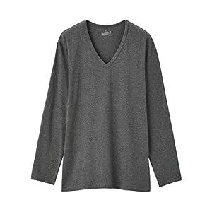 無印良品 綿であったかVネック長袖Tシャツ M チャコールグレー 4550182426274