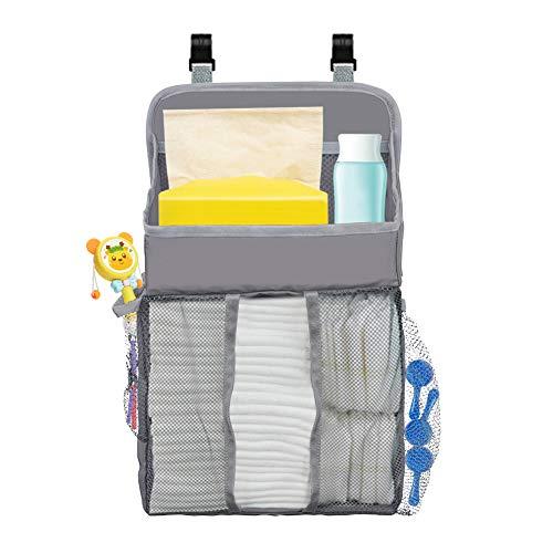 Novelfun Organizador colgante para pañales y guardería para cuna de bebé, Playard, cambiador, organizador de pañales para bebé Essentials y Baby Shower Regalos para recién nacido gris