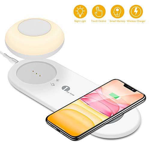 LED bedlamp, bureaulamp met Fast Wireless Charger, magnetische draagbare lamp, dimbaar licht, Smart Touch tafellamp met snel draadloos opladen, voor Samsung/i-Phone/Huawei (warmwit)
