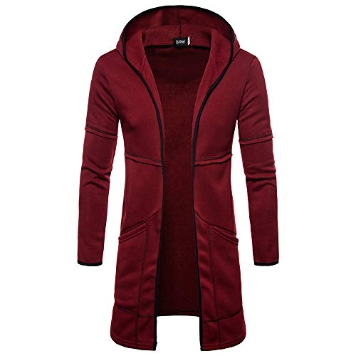 MODOQO Men's Hoodies, Long Trench Coat Casual Cardigan Jacket Outwear Autumn (Wine Red,L)