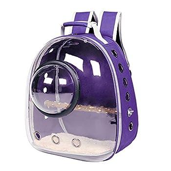 Ping Sac à dos de transport pour perroquet - Cage de voyage pour oiseaux - Transparente - Design panoramique et perchoir - Bleu - S/L