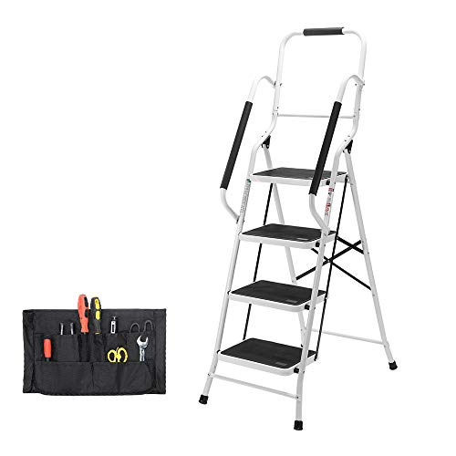 Step Ladder, Folding 4-Step Safety Step Ladder Padded Side Handrails Attachable Tool Pouch, 330lbs Capacity