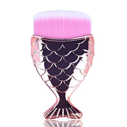 1 pcs Cosmétique Poissons Outils Kit Poudre Visage Maquillage Brosses Professionnel Blush brosse Queue Sirène Titulaire Forme Maquillage Fondation a O