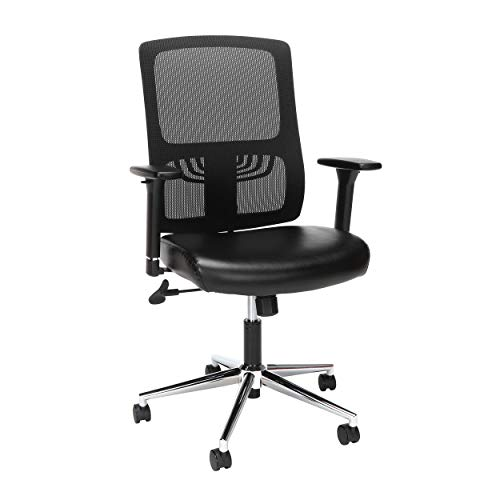 OFM Essentials Collection Mid Back Mesh Back with Leather Seat...