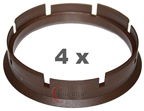 4 x pneugo! Bagues de centrage pour jantes alu 72.6 mm - 66.6 mm