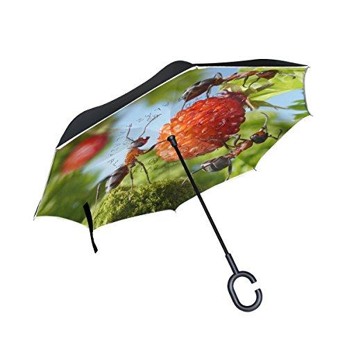 XiangHeFu Double Layer seitenverkehrt Rückseite Regenschirme Ameisen zweieinhalbfache Strawberry Teamwork Faltbar Winddicht UV-Schutz Big Gerade für Auto mit C-Förmigem Henkel