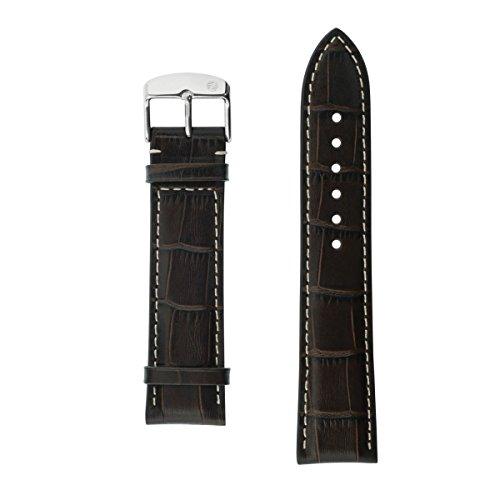 Uhrenarmband Armband Echtleder 22 mm Breit braun Mokka mit Prägung v Zeppelin