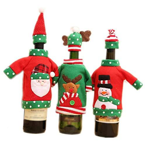Binghotfire Cubierta de Vino de Navidad Decoración de Mesa de Cena Bolsa de Vino Tinto Tela de Tela Rojo y Verde Juego de 3 Piezas