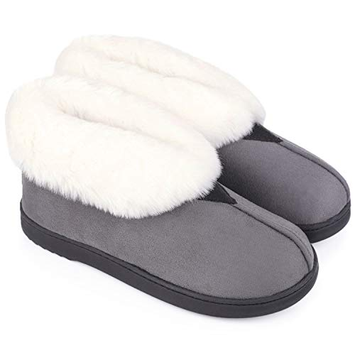 MERRIMAC Women's Comfort Suede Memory Foam Bootie Slippers Faux Fur Lined Indoor Outdoor House Shoes w/Anti-Skid Rubber Sole 10 B(M) US, Dark Gray