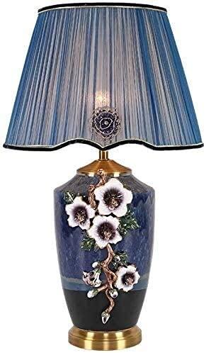 Vinteen - Elegante lámpara de mesa para mujer, esmalte Noble Blue, lámpara de escritorio, lámpara de noche bohemia, decoración de noche, escultura, pétalos blancos, florero moderno y brillante plisado