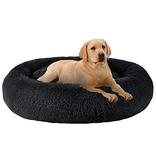 MFOX Calming Dog Bed (XL) for Medium Dogs Comfortable Pet Bed Faux Fur Donut Cuddler Up to 35lbs