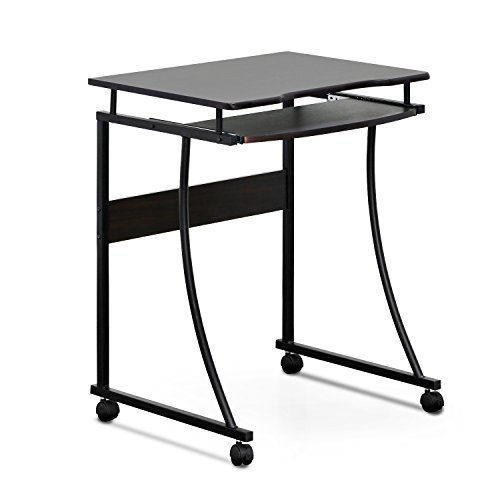 FURINNO Besi Metal Frame Computer Desk with Keyboard Tray, Espresso