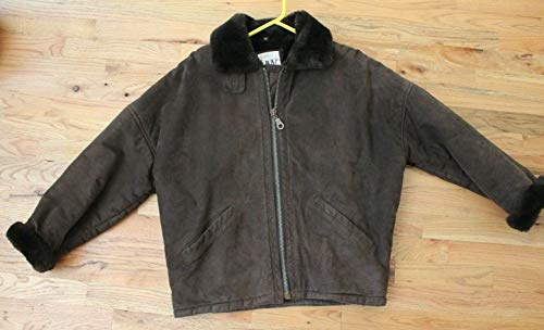 For Jones New York JNY Brown Leather Suede Coat Winter Jacket Size Small